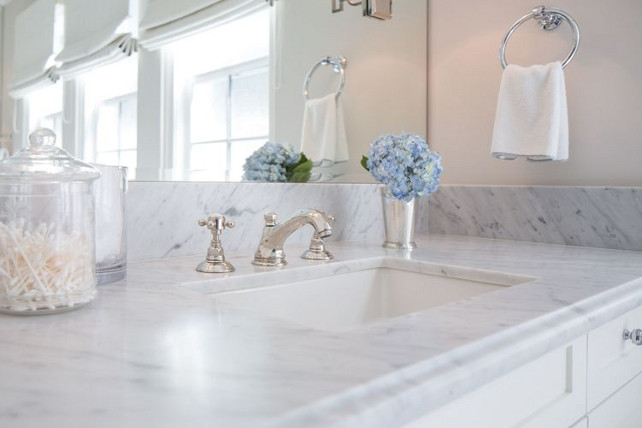 Bathroom marble countertop. Leathered Marble countertop. Kelly Nutt Design.