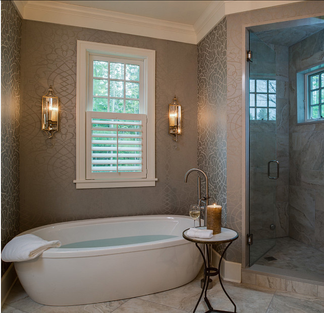 Bathroom with Freestanding Bath. Gorgeous bathroom with freestading bath and wallpaper. #Bathroom #FreestandingBath.