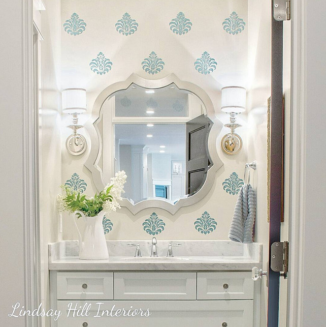Bathroom with Stencil Walls. Lindsay Hill Interiors.