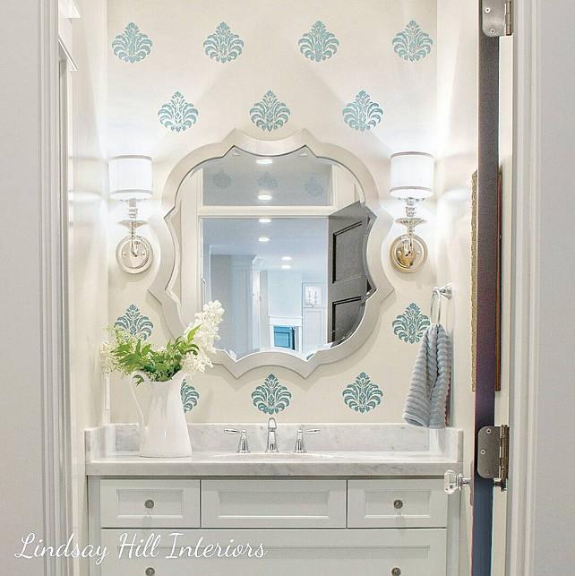 Bathroom with Stencil Walls. Lindsay Hill Interiors.