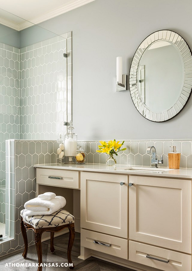 Bathroom with gray tiling. #Bathroom #GrayTiling #GrayTiles  Kathryn LeMaster, At Home in Arkansas via House of Turquoise