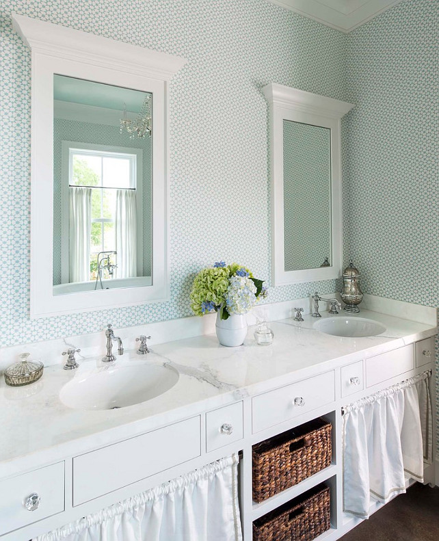 Bathroom with wallpaper and skirted sink. #Bathroom #Wallpaper #SkirtedSink #SkirtedCabinet