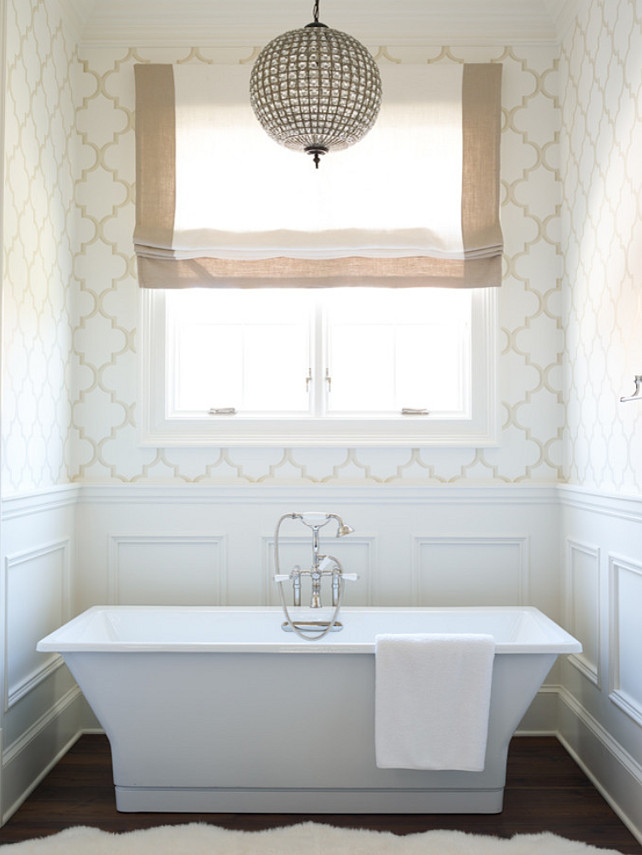 Bathroom. Bathroom Bathtub. Bathroom Wallpaper. Bathroom Lighting. Bathroom Hardwood Floor. #Bathroom #BathroomBathtub #BathroomWallpaper #BathroomLighting #BathroomHardwood Chenault James Interiors.