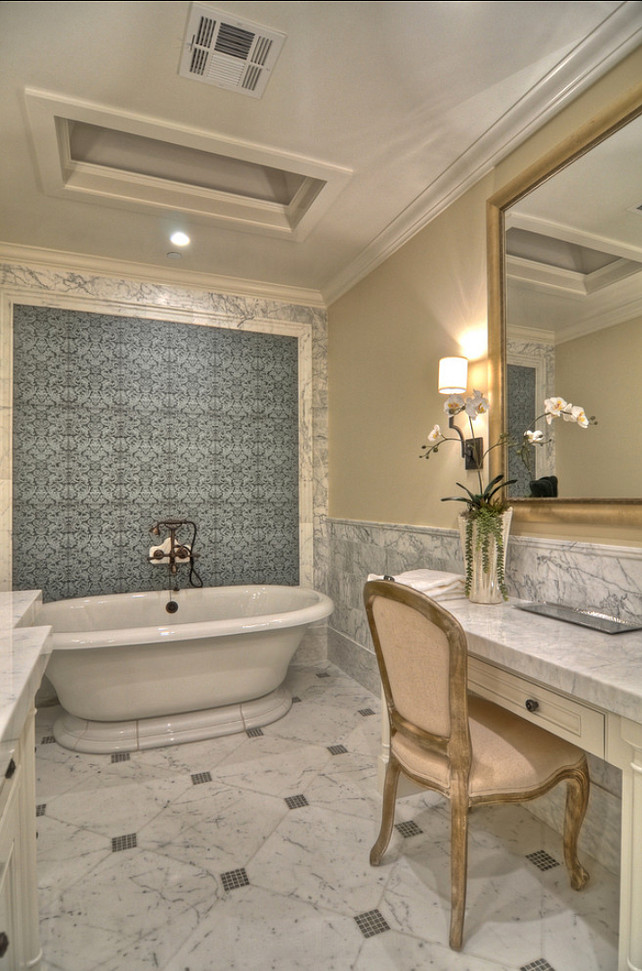 Bathroom. Bathroom Design Ideas. The freestanding bath is a Kohler Vintage bath. #Bathroom #BathroomIdeas #BathroomDesign #BathIdeas