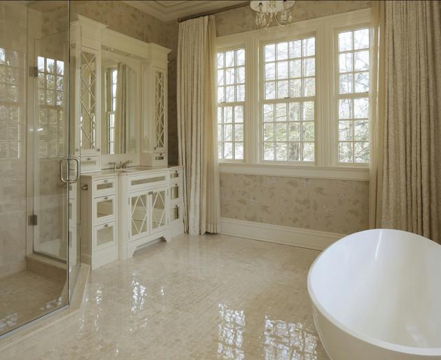 Bathroom. Bathroom Design. Feminine bathroom with marble flooring, freestand bathtub and wallpaper. #Bathroom #BathroomDesign