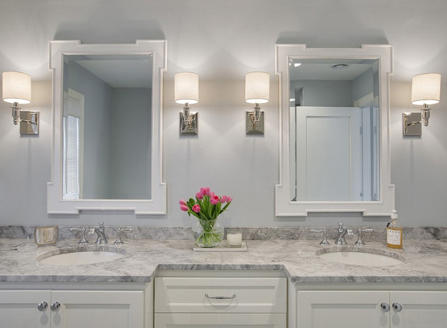 Bathroom. Bathroom Sconces. Bathroom Marble Counters. Bathroom Cabinet. Bathroom White Vanity. #Bathroom Revision LLC.