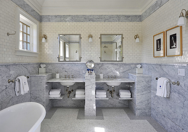 Bathroom. Bathroom Wall Tiling Ideas. Bathroom features subway tiles and marble slap on walls. #Bathroom #WallTiling John Hummel & Associates.