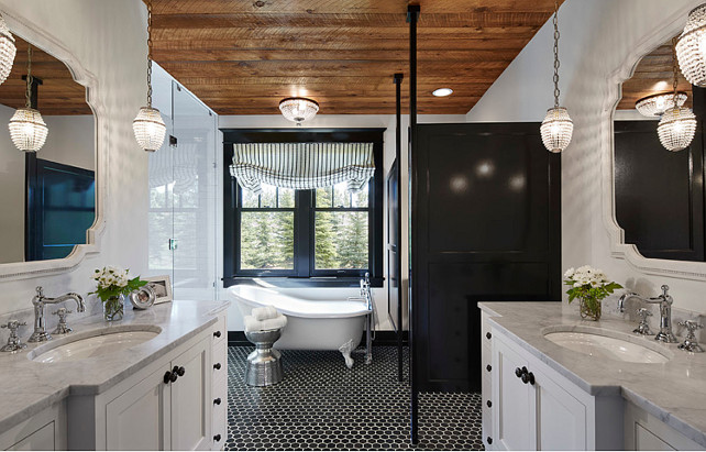 Bathroom. Bathroom with Reclaimed Ceiling. Master Bathroom. Transitional bathroom with reclaimed wood ceiling. Reclaimed wood plank ceiling. Flooring is Black Stone Hexagon Tile 2x2 with TEC 910 Bright White Grout. #bathroom #ReclaimedWood #Ceiling #PlankWood Martha O'Hara Interiors.