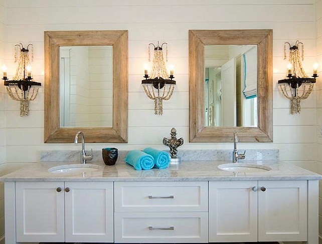 Bathroom. Beach House Bathroom. Beach House Bathroom with tongue and groove paneled walls. #Bathroom #BeachHouse #TongueandGroove #TongueandGrooveBathroom #PlankWalls Romais Homes.