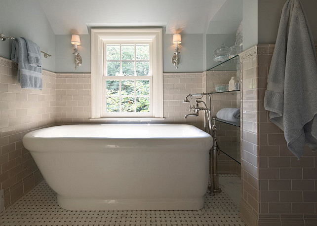 Bathroom. Blue Bathroom. Beautiful bathroom with freestanding bathtub. #Bathroom #BlueBathroom #BathroomIdeas #FreestandingBathtub Designed by Yunker Associates Architecture.