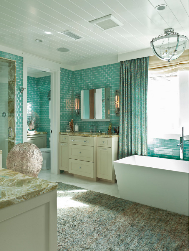 Bathroom. Coastal Bathroom. Coastal Bathroom Ideas. Coastal Bathroom Decor. Coastal Bathroom Color Palette. Tub is by Wetstyle. Custom light fixture is Lantern Masters. #CoastalBathroom #Bathroom #Coastal