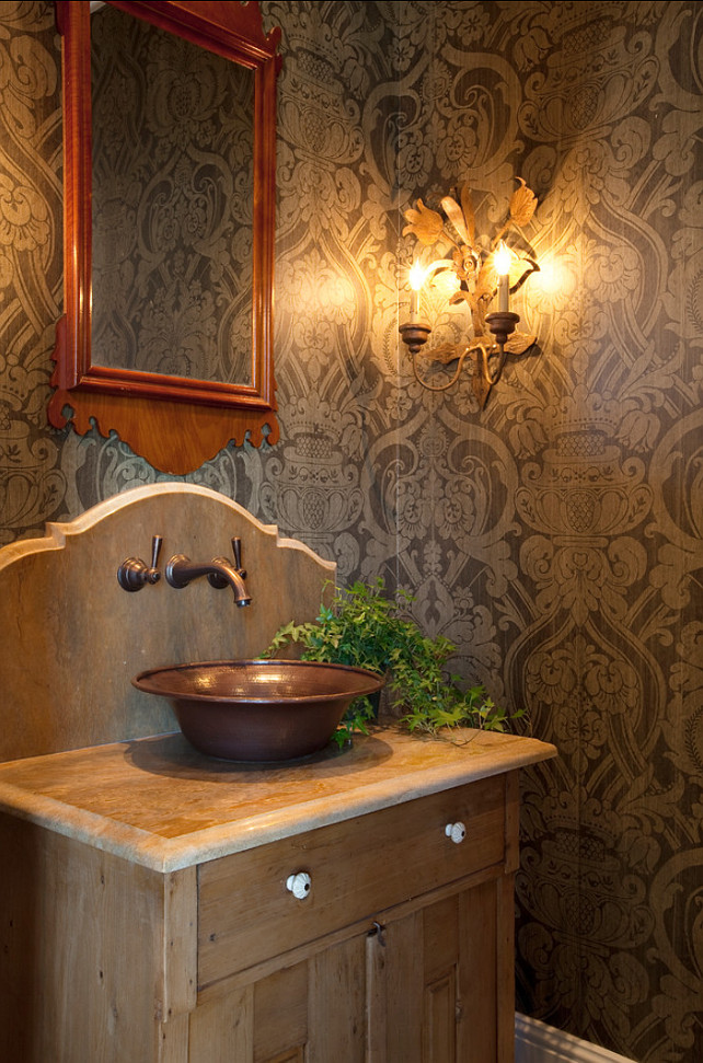 Bathroom. Farmhouse Bathroom. Farmhouse style Bathroom. The wallpaper in this bathroom is from SJW Studios, pattern is McLaughlin Damask, and color is Lichen. #Bathroom #Wallpaper #Farmhousebathroom Allard Ward Architects.