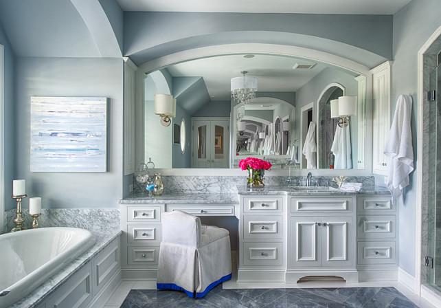Bathroom. Gray bathroom with white cabinets. #Bathroom #BathroomIdeas #GrayBathroom #WhiteCabinets Studio M Interiors.