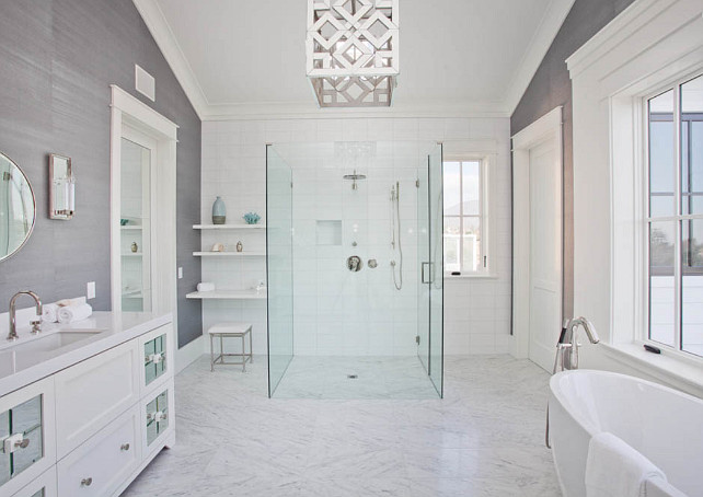 Interior design ideas relating to benjamin moore paint for Gray bathroom wallpaper