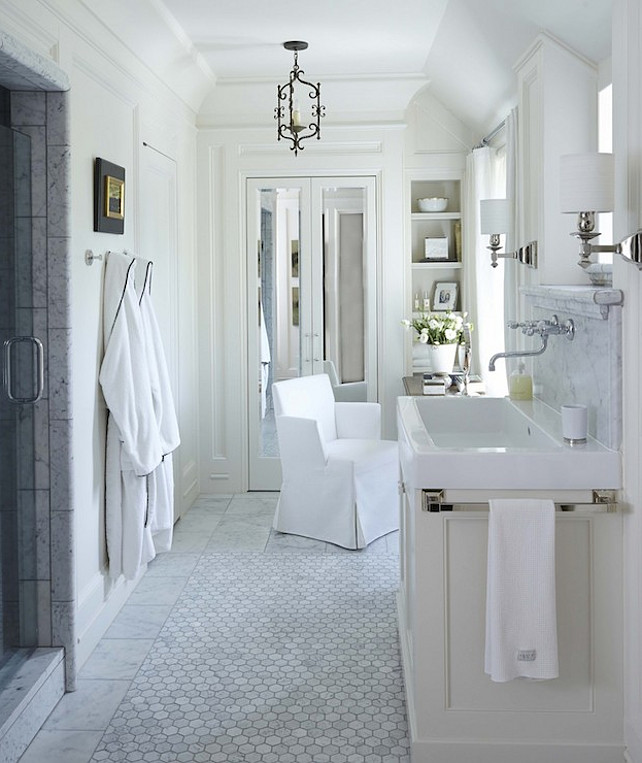 Top Hex Marble Floors Pin Hex Marble Bathroom Flooring. Bathroom. Marble Flooring Bathroom. Stunning bathroom with marble tiled walk-in shower with glass door opposite an ivory sink vanity. #Bathroom #MarbleBathroomFlooring Dungan Nequette Architects.