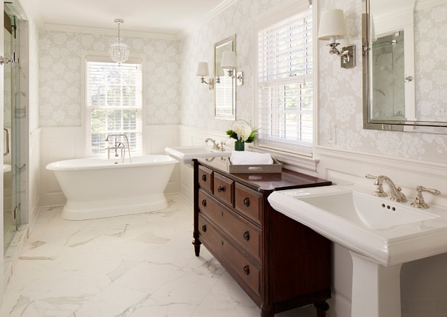 Bathroom. Traditional Bathroom Design. The paint color on the trim and wainscoting is Benjamin Moore China White. #BenjaminMooreChinaWhite