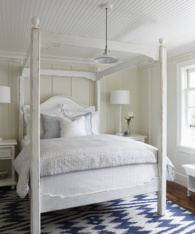 Batten and Board. Batten and Board Bedroom with beadboard ceiling. Coastal Interior Ideas. #Coastal #Interiors #Bedroom #BattenandBoard #Beadboard Muskoka Living Interiors.