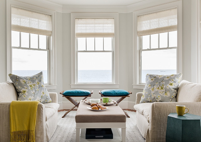 Bay Window Decorating Ideas. How to place furniture in a living room with bay window. #BayWindow #LivingRoom #Furniture #Layout #FurnitureLayout  Jennifer Palumbo.