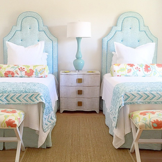 Beach House Guest Bedroom with turquoise beds. Quadrille Fabrics. #QuadrilleFabrics #GuestBedroom #Turquoise #BeachHouse Collins Interiors.