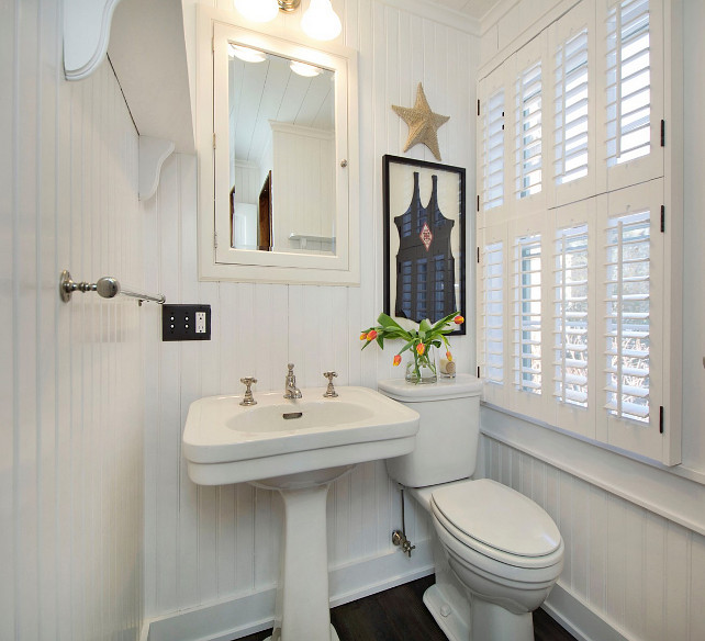 Beadboard Bathroom with coastal decor. Coastal Cottage Bathroom with beadboard walls. #Beadboard #Bathroom #Coastal #CottageBathroom #CoastalBathroom
