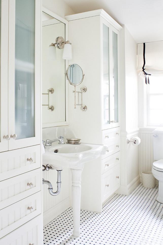 Beadboard Cabinet. Bathroom Beadboard Cabinet. White Beadboard Cabinet. #BeadboardCabinet #WhiteBeadboardCabinet  Anne Hepfer Designs.