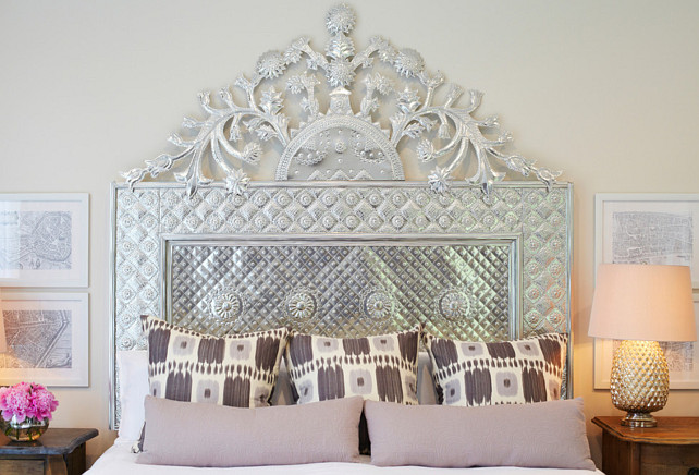 Bed Design Ideas. A custom made hand hammered silver head board sits proud above the bed in this master bedroom. #Bed #Bedroom