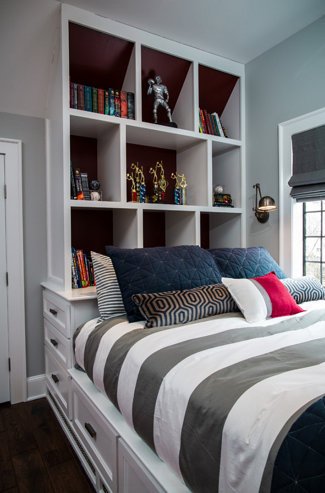Bedroom Bookcase. Bed with Bookcase. Kids bedroom with custom bed bookcase. #Bed #BedBookcase #Bookcase Z+ Interiors