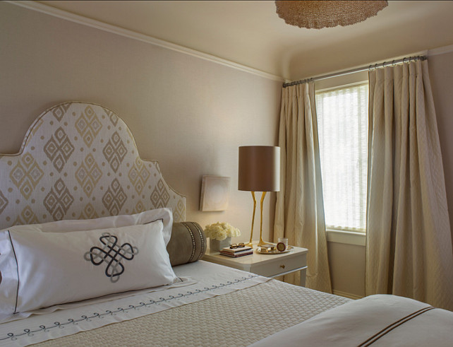 "Bedroom Colors Palette. Master Bedroom Color Palette. Ceiling and trim are ""Benjamin Moore OC-1 Natural Wicker"" - flat on the ceiling and semi gloss on the trim. Walls are covered with linen. Angela Free Design."