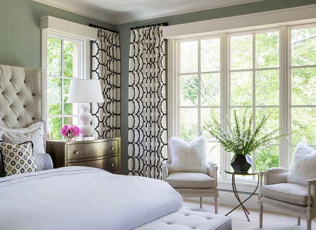 Bedroom Design. Elegant Bedroom with tuffed bed. The bed is by Bernhardt Furniture. #Bedroom #BedroomFurniture #BedroomDesign #BedroomIdeas Designed by Martha O'Hara Interiors.