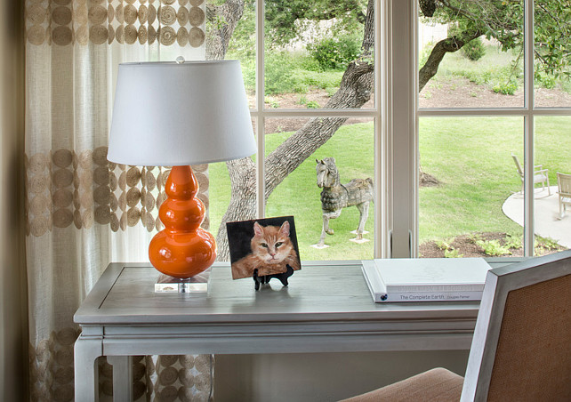 Bedroom Desk. Bedroom Desk by window. Bedroom with Gray Desk. #Bedroom #Desk #Window Martha O'Hara Interiors.