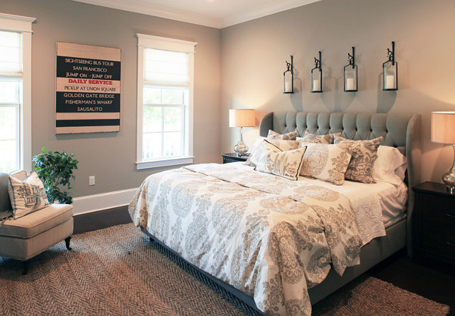 Bedroom Ideas. Bedroom Gray Paint Color. #Bedroom #GrayBedroom #GrayPaintColor Amy Tyndall Designs.
