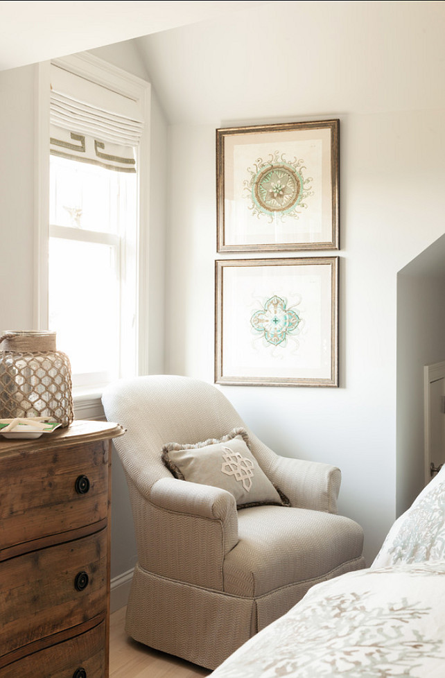 Bedroom Sitting Area. Charming Bedroom Sitting Area with upholstered chair and neutral decor. You don't need much space to have a charming sitting area, you just need the right chair! #Bedroom #BedroomSittingArea #SittingArea