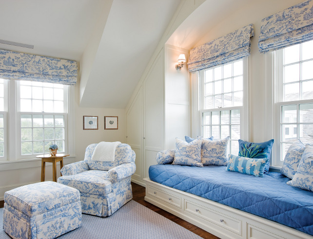 Bedroom Window Seat. Bedroom with Large Window Seat. Bedroom Window Seat Fabric. #Bedroom #WindowSeat SLC Interiors