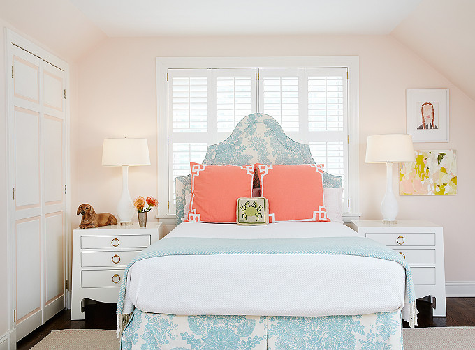 Bedroom with Pale Pink Paint Color and Coral and Turquoise decor. Amie Corley Interiors.