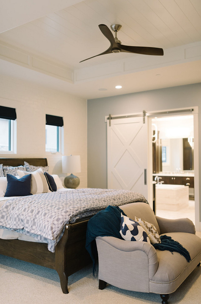 Bedroom. Bedroom Design. Transitional Bedroom. Bedroom Ceiling. Bedroom Ideas. Barn Door Bedroom. #Bedroom #bedroomIdeas Four Chairs Furniture.