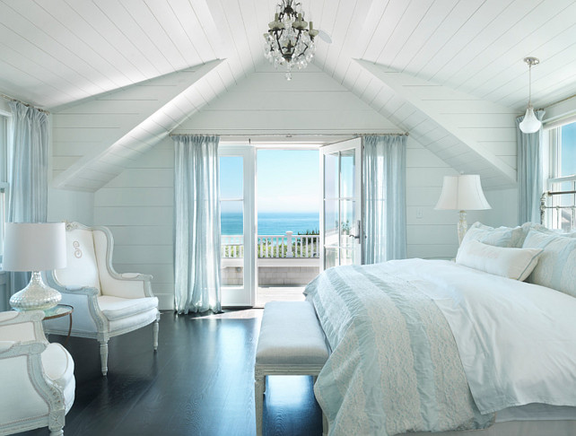 Bedroom. Cottage Bedroom. Beach Cottage Bedroom. Beach Cottage Bedroom Decor. Plank Wall Bedroom. White Plank Wall and Ceiling Bedroom. Paint Color: The paint color is Benjamin Moore White Ice in a satin finish. #Bedroom #PlankWall #PlankCeiling #BeachBedroom #CottageBedroom Benjamin Moore White Ice. #BenjaminMooreWhiteIce
