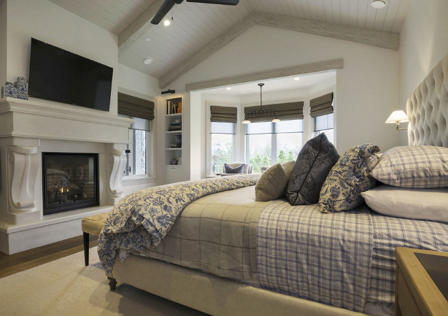 Bedroom. Master Bedroom with cathedral ceiling and fireplace. Limestone Bedroom Fireplace #Bedroom #CathedralCeiling #Fireplace Michael Grahame.