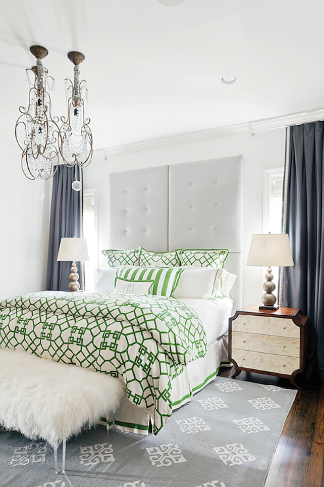 Bedroom. Transitional Bedroom Design Ideas. Transitional bedroom with white and green trellis bedding. #Bedroom #TransitionalBedroom #Trellis #Bedding   Birmingham Home and Garden