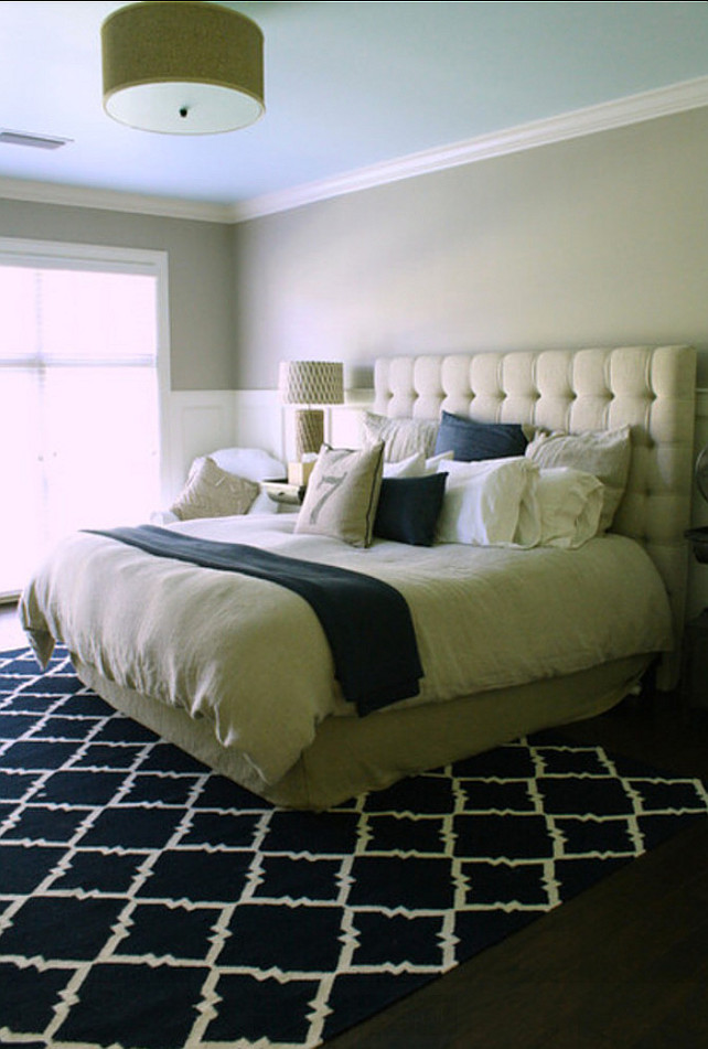 Bedroom. Transitional Bedroom Design Transitional bedroom with tuffed bed and geometric rug. #Bedroom #TransitionalBedroom #TransitionalInteriors