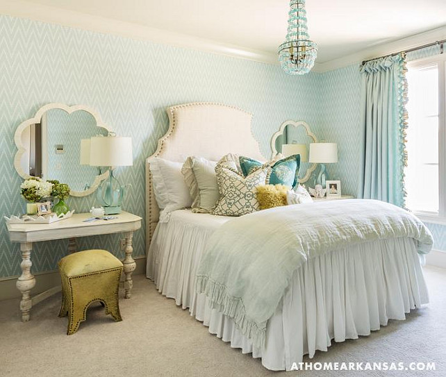 Bedroom. Turquoise Bedroom Ideas. Turquoise Bedroom Decor Bedroom with Turquoise Arteriors Duke Chandelier and seaglass blue chevron wallpaper. #Bedroom #Turquoise #TurquoiseBedroom At Home in Arkansas