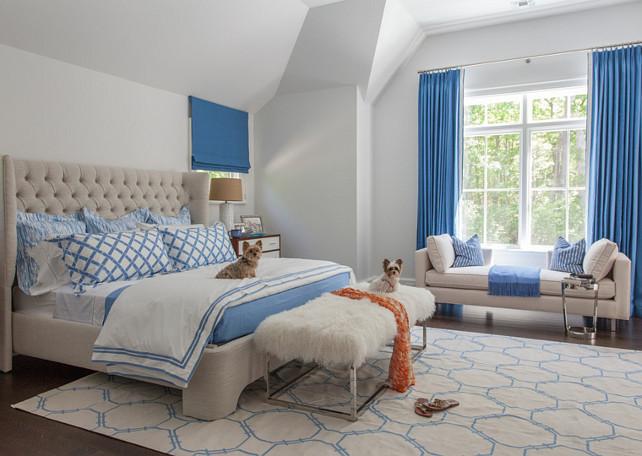 Bedroom. White and Blue bedroom with linen tufted bed. #Bedroom #Blueandwhite #BedroomIdeas #LinenBed #TuftedBed Duneier Design.