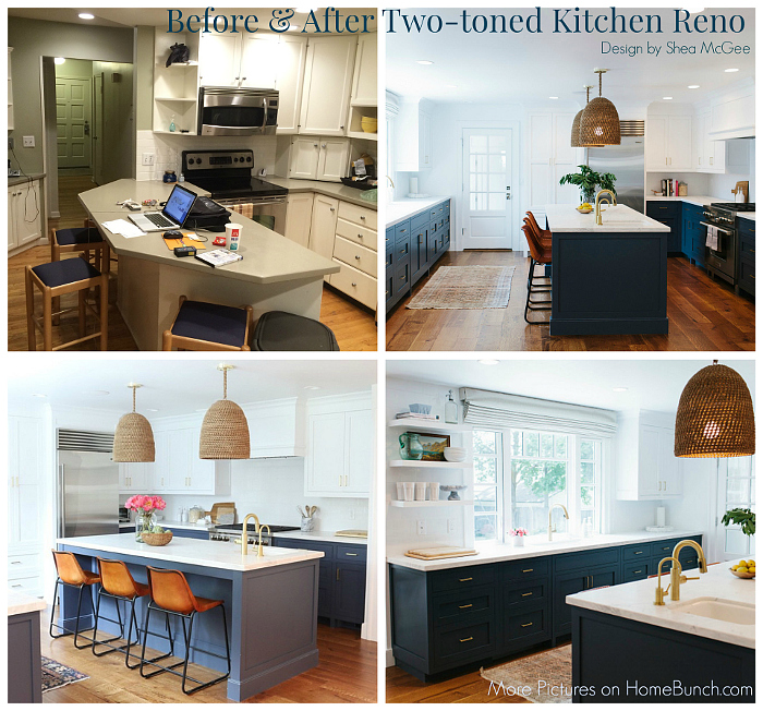 Before and After Two-Toned Kitchen Reno