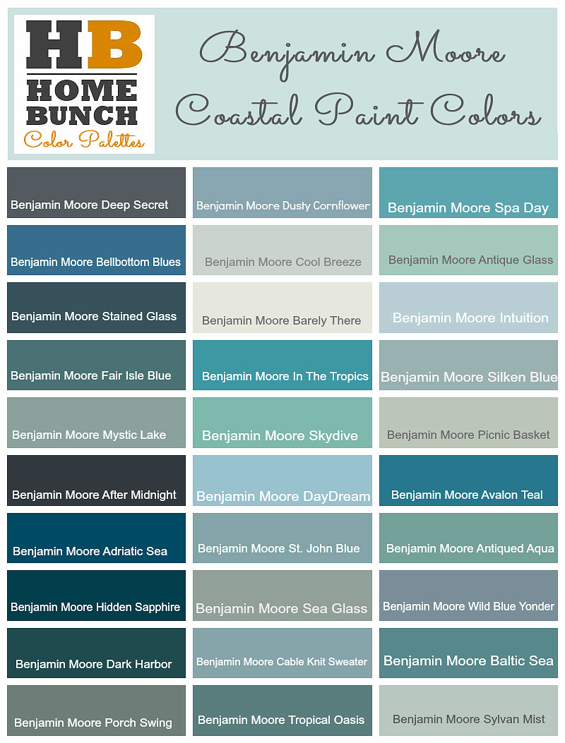 Benjamin Moore Color Palette Ideas Paint Coastal Colors