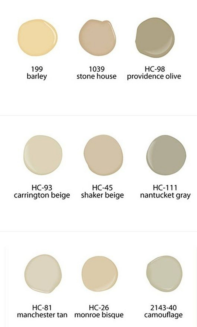 Benjamin Moore Neutral Paint Colors. Neutral Paint Colors. Benjamin Moore 199 Barley. Benjamin Moore 1039 Stone House. Benjamin Moore HC-98 Providence Olive. Benjamin Moore HC-93 Carrigngton Beige. Benjamin Moore HC-45 Shaker Beige. Benjamin Moore HC-111 Nantucket Gray. Benjamin Moore HC-81 Manchester Tan. Benjamin Moore HC-26 Monroe Bisque. Benjamin Moore 2143-40 Camouflage. #BenjaminMoorePaintColors