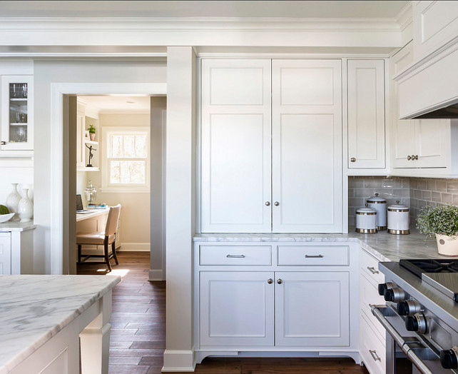 Benjamin Moore Simply White: White Kitchen With Inset Cabinets