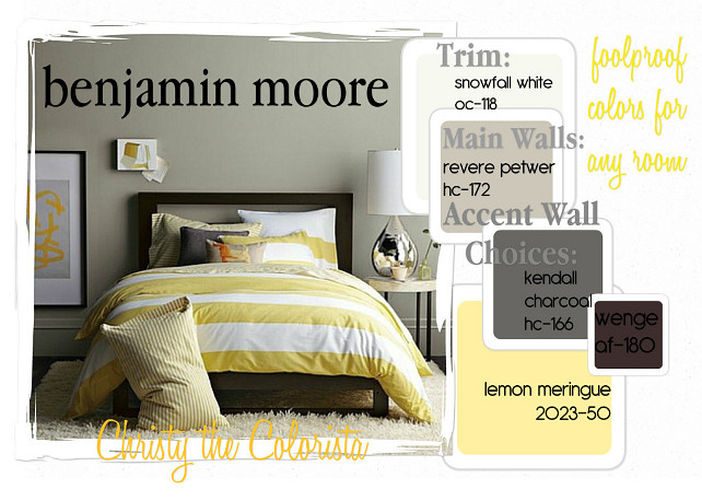 Benjamin Moore Revere Pewter. How to decorate a room painted in Benjamin Moore Revere Pewter. Benjamin Moore Revere Pewter Color Palette. Via Christy the Colorista. Benjamin Moore Revere Pewter. How to decorate a room painted in Benjamin Moore Revere Pewter: Wall paint color is Benjamin Moore Revere Pewter. For the trim paint color use Benjamin Moore Snowfall White OC-118. Decor with similar colors to: Kendall Charcoal HC-166 Benjamin Moore, Wenge AF-180 Benjamin Moore and Lemon Meringue 2023-50 Benjamin Moore. Via Christy the Colorista.