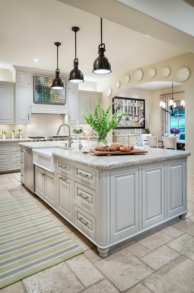 Kitchen With Gray Cabinets And Gray Granite Countertop The Cabinet