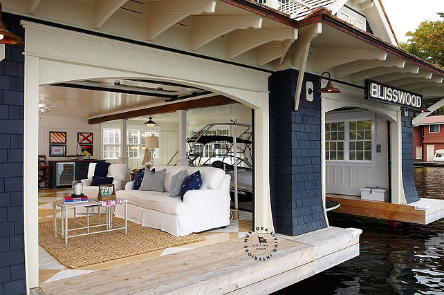 Blisswood Cottage BoatHouse designed by Muskoka Living Interiors. #Blisswood #Cottage #MuskokaLivingInteriors
