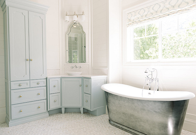Blue Bathroom Cabinet. Blue Bathroom Cabinet Paint Color. Blue Bathroom Cabinet Ideas. Benjamin Moore Woodlawn Blue HC-147. #Blue #Bathroom #Cabinet Four Chairs Furniture.