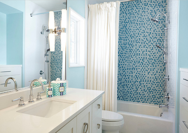 Blue Bathroom. Blue bathroom countertop. Blue bathroom with white quartz countertop. #Bathroom #BlueBathroom #WhiteQuartz Butter Lutz Interiors, LLC.